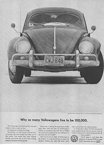 (Magazine Print Ad: 1961 VW Beetle, USD 1565,