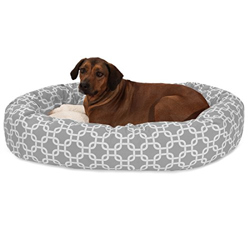 (52 Inch Gray Links Sherpa Bagel Dog Bed)