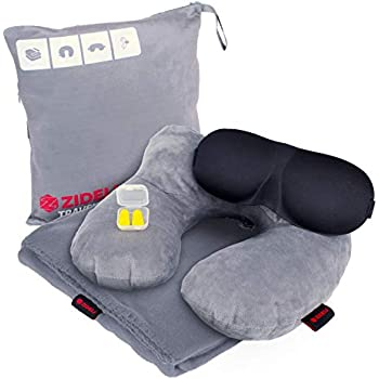 ZIDELI Travel Blanket - 4-in-1 Luxury Travel Set - Premium 200gsm Lightweight Airplane and Camping Blanket for Men & Women - Inflatable Velvet Pillow with Neck Support + Eye Mask & Ear Plugs (Gray)
