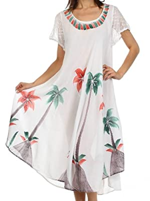 Sakkas Watercolor Palm Tree Tank Caftan Dress