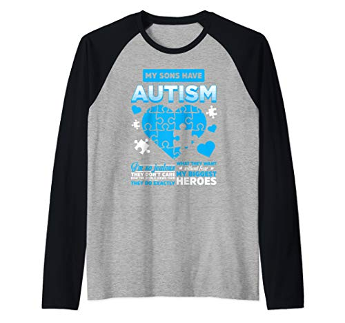 My Sons Have Autism They Are My Biggest Heroes Raglan Baseball Tee