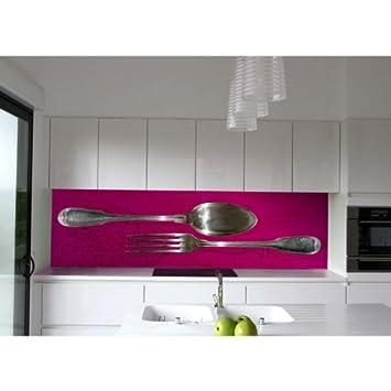 Crédence De Cuisine En Plexi Rose Décor Couverts 150x50 Cm FORK