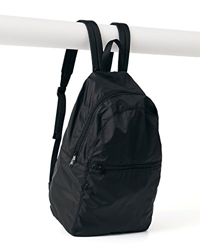 Ripstop Nylon Backpack, Lightweight Packable Backpack Ideal for Travel or the Gym, Black