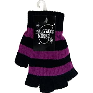 Hollwood Mirror Gothic 80s Goth Punk Psychobilly Purple Black Stripe Mens Fingerless Gloves