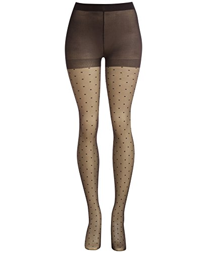 Avec Les Filles by Joyce Azria Dotted Sheer Tights (Black) Size S/M - Dotted Sheer