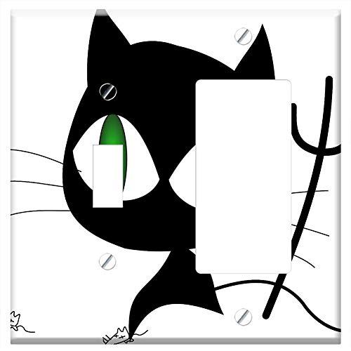 (1-Toggle 1-Rocker/GFCI Combination Wall Plate Cover - Cat Black Evil Halloween Devil Possessed)