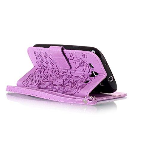 Funda Galaxy S3, Carcasa Plegable para Galaxy S III, Funda de piel Samsung i9300, Lifetrut Sólido Shiny Sparkle libro de estilo funda de cuero con ranura para tarjetas de cierre magnético soporte fund E212-Flor de rosa en púrpura
