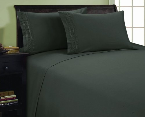 Elegance Linen 1500 Thread Count CHAIN DESIGN Egyptian Quality Luxurious Silky Soft WRINKLE & FADE RESISTANT HypoAllergenic 4 pc Sheet set, Deep Pocket Up to 16