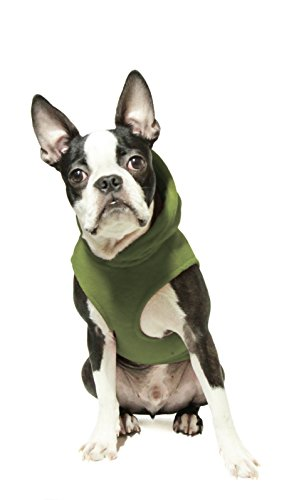 Image of Gooby Every Day Fleece Cold Weather Dog Vest with Hoodie for Small Dogs, Green, Small