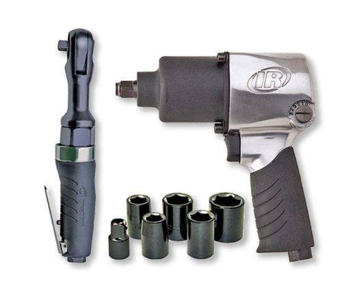 - Ingersoll Rand 2317G Edge Series Air Impactool and Ratchet Kit, Black