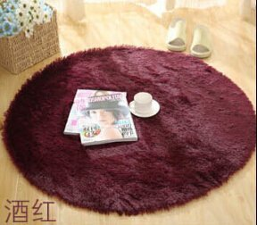 SVI Top Finel Hot High Quality Floor Mats Modern Shaggy Round Rugs and Carpets for Living Room Bedroom Carpet Rug for Home Yoga Mat wine red 80cmx80cm
