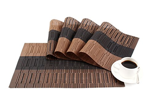 (GEFEII Exquisite Bamboo PVC Placemats Woven Vinyl Non-Slip Kitchen Place Mats for Dining Wedding Party Heat-Resistant Waterproof Table Mats (Ombre Coffee and Black, 4))
