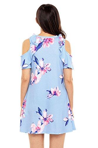 Short Print Blue Shoulder Sleeve Dress Cold Women's Floral Sidefeel Mini qgxaTH