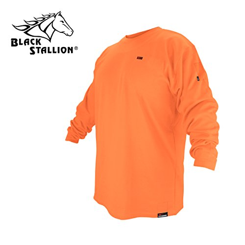 (Black Stallion FTL6-ORA Hi-Vis Orange FR Cotton Long-sleeve T-Shirt, L)