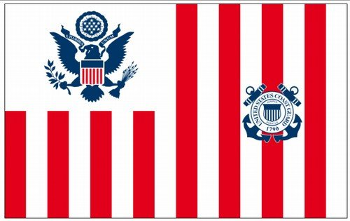 U.S. Coast Guard USCG Ensign Valley Forge Indoor Outdoor Dyed Nylon G-Spec (Size 5) Flag Brass Grommets 15