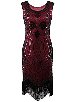 Vijiv Women's 1920's Vintage Gatsby Bead Sequin Art Nouveau Deco Flapper Dress