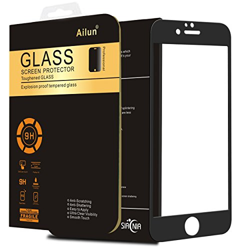 Ailun Screen Protector Compatible with iPhone 6 6s Plus 2.5D Curved Edge Tempered Glass Screen Saver Edge to Edge Full Screen Coverage Bubble Free Siania Retail Package 5.5 Black