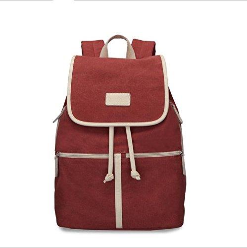 Alger Canvas Rucksack Trend Damen Umhängetasche Rucksack, Grau Red
