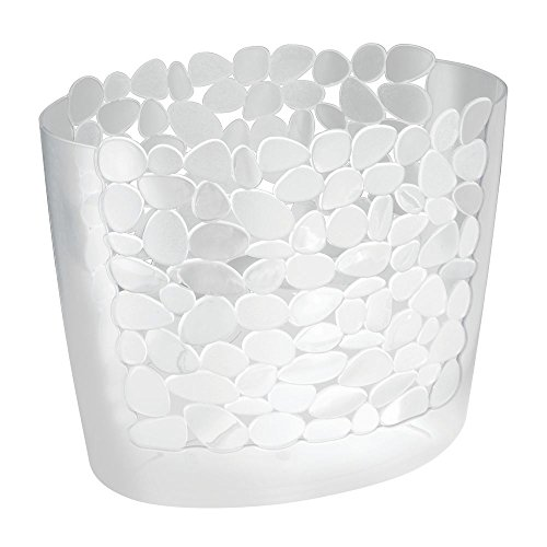 mDesign Decorative Oval Trash Can Wastebasket, Garbage Container Bin for Bathrooms, Powder Rooms, Kitchens, Home Offices - Pebble Design - Clear