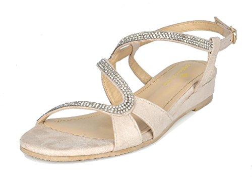 DREAM PAIRS Women's Formosa_1 Nude Low Platform Wedges Slingback Sandals Size 8.5 B(M) US -