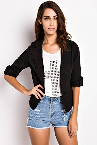 ACHICGIRL Women Lovely Slim Blazer One Button Short Suit Casual Blazer Outerwear Black