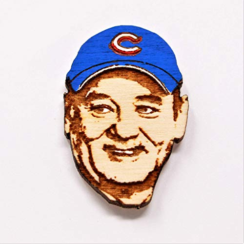 Cubs Fan Lapel Pin | World Series Commemorative Wood Hat Pin | Hand-Painted Wooden Cubs Brooch