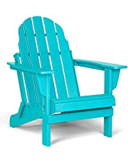 Folding Adirondack Chair, Patio Outdoor Chairs, HDPE Plastic Resin Deck Chair, Painted Weather Resistant, for Deck, Garden, Backyard & Lawn Furniture, Fire Pit, Porch Seating by Gettati Aqua