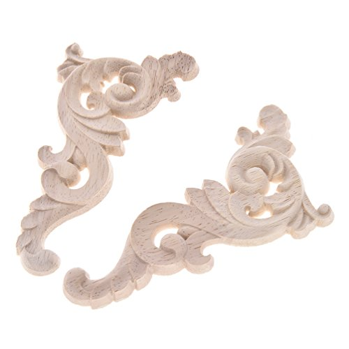 Lychee 1 Pair Flower Wood Carved Corner Onlay Applique Furniture Unpainted  Cabinet Décor