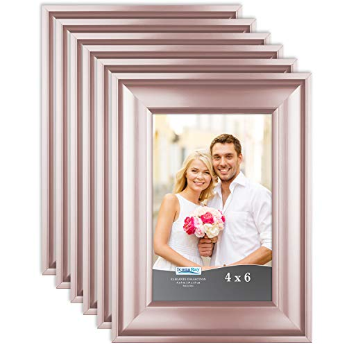Icona Bay 4x6 Picture Frame (6 Pack, Rose Gold), Rose Gold Photo Frame 4 x 6, Wall Mount or Table Top, Set of 6 Elegante -