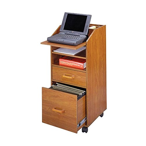 Laptop Cart w Accessory & File Drawers in Natural Cherry Finish (File Cherry Rolling)