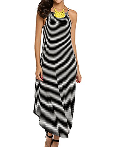 Halife Women's Summer Casual Stripe Sleeveless Loose Beach Swing Dress (M, Black Stripe)