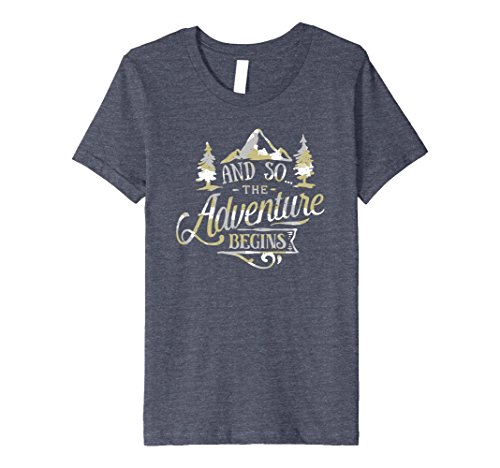Kids The Adventure Begins Vintage Look Camo T-Shirt 12 Heather Blue