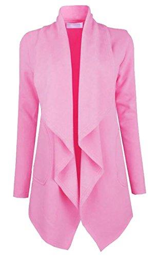 Zago Women's Draped Open Front Cardigan Lapel Wool Peacoat Jacket Pink XL