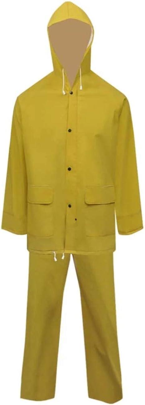 vidaXL Waterproof Heavy-duty Long Raincoat with Hood Yellow//Green Multi Sizes