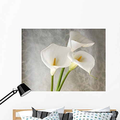 Wallmonkeys Fresh White Calla Lilies Wall Decal Peel and Stick Graphic WM214680 (48 in W x 36 in H)