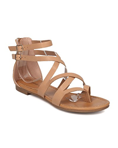 Women Criss Cross Gladiator Sandal - Casual, Costume, Girls Night - Strappy Flat Sandal - GG54 By Breckelles - Natural (Size: (Black Strappy Girls Costumes Heel Shoes)