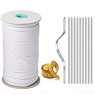 100 Yards Length 1/4 Inch Braided Elastic Band White Elastic Cord Heavy Stretch High Elasticity Knit Elastic Band | Aluminum Strip Nose Bridge Nose Wire | Ruler for Sewing Crafts
