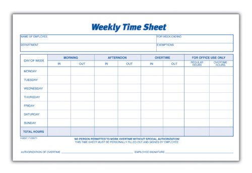 Adams Time Sheet, 9 x 5.5 Inch, Weekly Format, 2-Part, Carbonless, 100-Pack, White, Canary (NC9507)