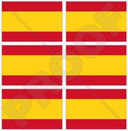 6 pegatinas de vinilo pequeñas de 40 mm de la bandera de España para teléfono móvil: Amazon.es: Jardín