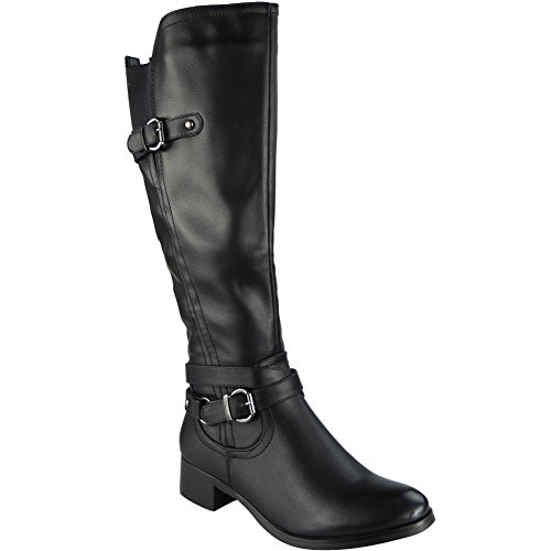 Damen Unten Knie Lange Reißverschluss Hacke Winter Knie hoch Stiefel Größe 36-41 Schwarz