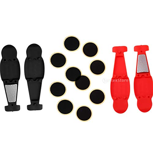 DYNWAVE Portable Bike Tire Repair Kit Nylon Levers Bicycle Tube Patches Tool Set for Road Bikes, MTB and BMX Bikes Red and Black