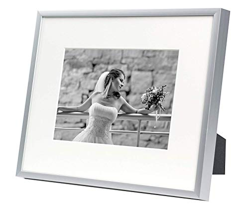(Golden State Art, Metal Wall Photo Frame Collection, Aluminum Silver Photo Frame with Real Glass (8x10-Table top) for 5x7 Picture)