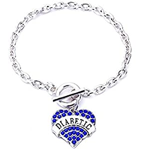 Diabetes Diabetic Type 1 2 Rhinestone Heart Bracelet Wristband Medical Alert - Various Colors