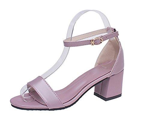 GMBLB014194 à Sandales AgooLar Talon Correct Unie Couleur Violet Boucle Femme 8qUqxwR6E