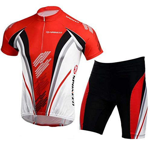 (sponeed Men's Cycling Jersey Shorts Suit Bicycle Outfit Uniforms Club Bike Gear Biking Shirt US L US Red)