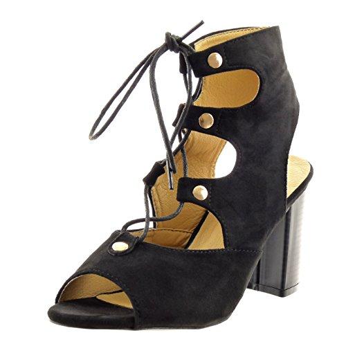 Sopily - Zapatillas de Moda Botines Tobillo mujer multi-correa cordones tachonado Talón Tacón ancho alto 8.5 CM - plantilla sintético - Negro