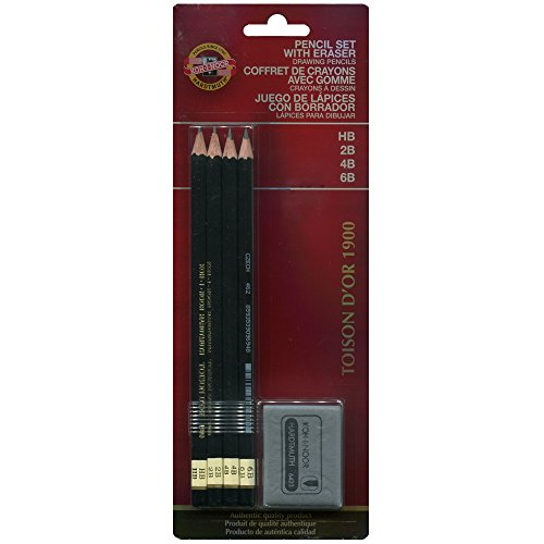 Koh-I-Noor Toison d'Or Graphite Pencil and Kneaded Eraser Set, 4 Degrees, 4 Pencils Per Pack (FA1900.4SET)
