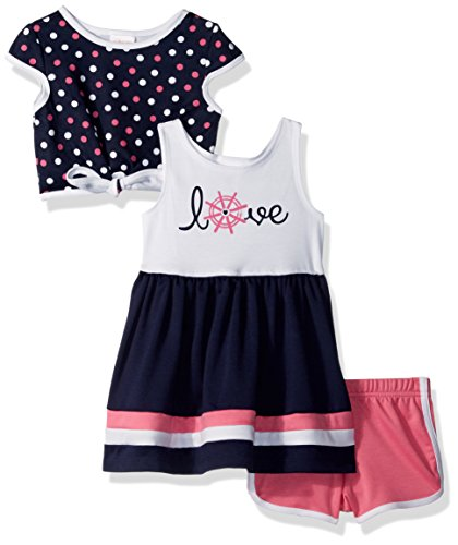 Youngland Little Girls' 3 Pc Set Dress, Pop-Over Top, Knit Short, Navy/White, 6 (Popover Set)