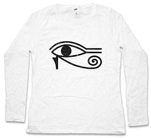 EYE OF RA I SIGN DAMEN GIRLIE LANGARM T-SHIRT - Horusauge Horus Auge Falcon Pharao Sun God Sonnengott Ägypten Cleopatra Kleopatra Größen XS