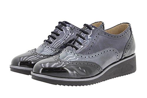 Calzado mujer confort de piel Piesanto 9621 zapato cordón cómodo ancho Negro-Gris
